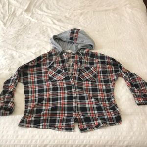 Plaid button up with hood